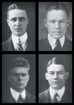 Alleged grave robbers, clockwise from top left: Prescott Bush '17, Charles C. Haffner '19, Henry Neil Mallon '17, and Ellery James '17. Haffner, who is credited with the theft of Geronimo's skull in the recently discovered letter, went on to become a general in World War II and then chair of the printing company R. R. Donnelly & Sons. A purported Skull and Bones account of the theft, leaked in the 1980s, identifies the other three by name. Bush became a Connecticut businessman, a U.S. senator, and the father and grandfather of two U.S. presidents. Mallon became chair of the oilfield service company Dresser Industries and the first employer of George H. W. Bush '48. James was a banker with Brown Brothers Harriman until his untimely death in 1932 (from Yale Alumni Magazine).