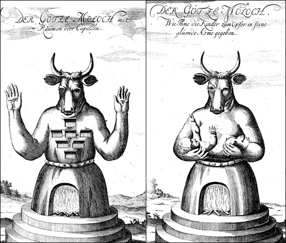 Classic Moloch illustration from the early 1700s (Johann Lund: Die alten jüdischen Heiligthümer ...)