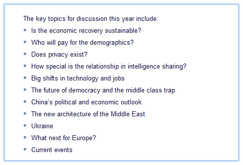 Key Topics for 2014 Bilderberg Meeting as per Bilderberg Press Release