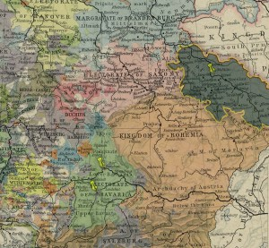 Pinned are Freising, Regensburg (Rattisbon or Ratisbon), Silesia. The latter territory is additionally highlighted: from an 1786 map of Central Europe.