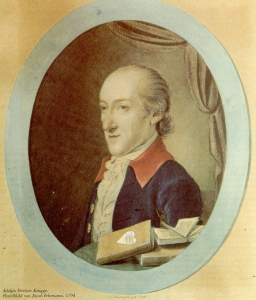 Adolph Franz Friedrich Ludwig, Baron von Knigge (1752 Bredenbeck, Germany – 1796 Bremen, Germany) -Philo (Judaeus)-