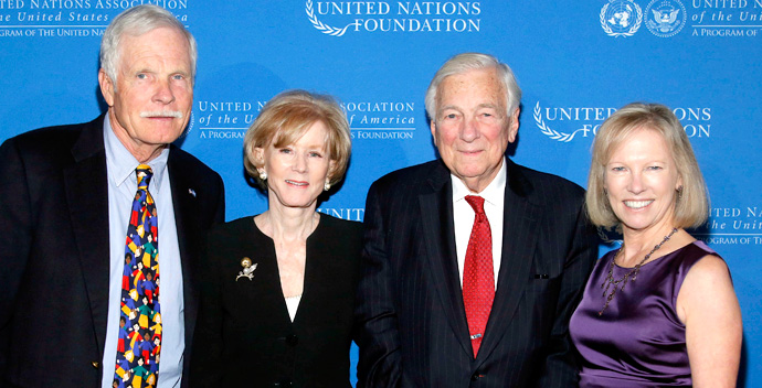 Figure 1: Ted Turner, Cindy Whitehead, John C. Whitehead, and Kathy Calvin at the Global Leadership Awards dinner hosted by the UN Foundation and United Nations Association-USA, Tuesday, Oct. 16, 2012, in New York