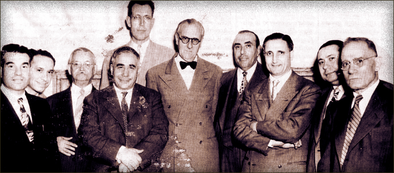 Left to right: Dominic Lisciandrelli, General Secretary, Italian Branch, Assemblies of God; Anthony Piraino, Elder, It. Br., A. of G.; Dr. A. di Domenica, leader in Italian Baptist movement in the USA and pastor in Philadelphia for more than forty years; Dr. Frank B. Gigliotti, Secretary-Treasurer, Citizens United for Religious Emancipation; Dr. Clyde W. Taylor, Missions Secretary, National Association of Evangelicals; His Excellency Umberto Tarchiani, Italian Ambassador to the U. S. A,; Dr. Charles Fama, former Chairman, American Board of Medical Examiners, New York, now National President, American Committee for Religious Liberty in Italy; Umberto Gorietti, National Presbyter of the A. of G. in Rome, Italy; Alexander Mauriello, Treasurer, It. Br., A. of G.; Francis Panetta, Editor Il Resorgimento, national Italian evangelical publication.
