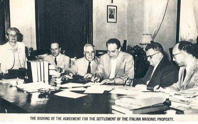 From L-R: Mrs. Frank B. Gigliotti; Dr. Bartoli; Dr. Frank B. Gigliotti; Dr. Publio Cortini, Past Grand Commander of the Supreme Council of Palazzo Giustiniani; Finance Minister Giuseppe Trabucchi; Judge Ugo Niutta