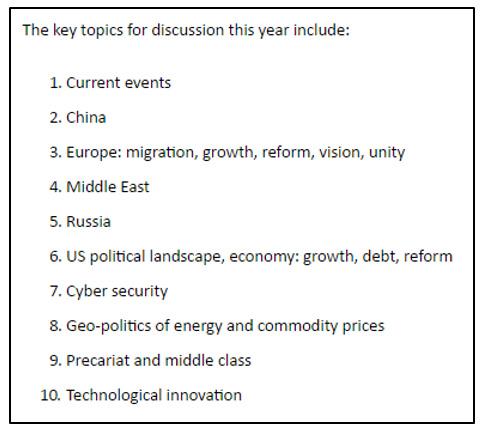 Figure 1: - 'Key Topics for Discussion'- Bilderberg Meeting 2016 Source: http://www.bilderbergmeetings.org/press-release.html