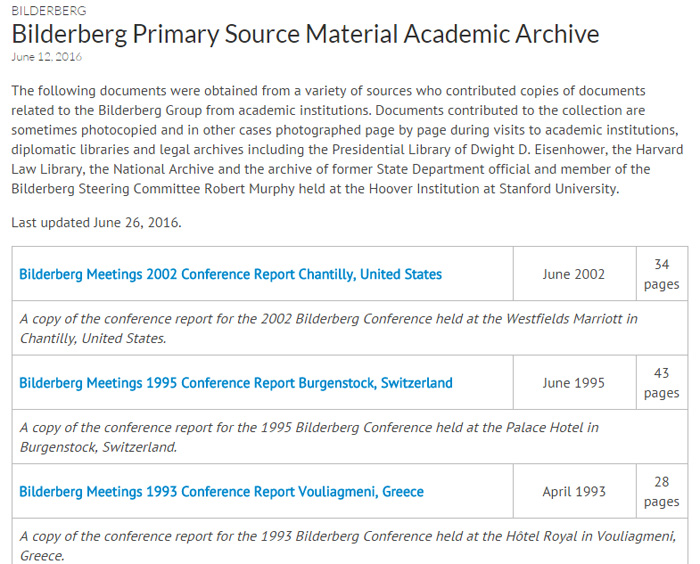 Figure 1 Public Intelligence's 'Academic Archive' of Bilderberg Primary Source Materials