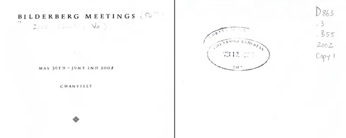 Figure 4 Front Cover and Library of Congress Markings for Bilderberg Meetings Report, 2002