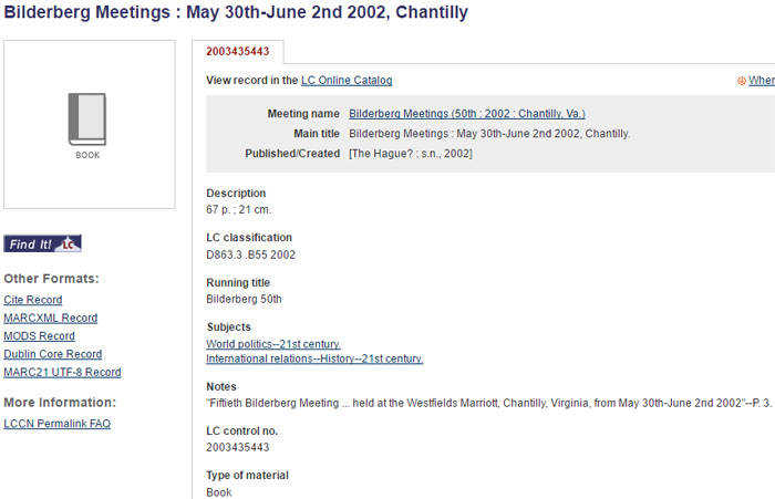 Figure 5 Detail for Library of Congress Catalogue on Bilderberg Meetings Report, 2002